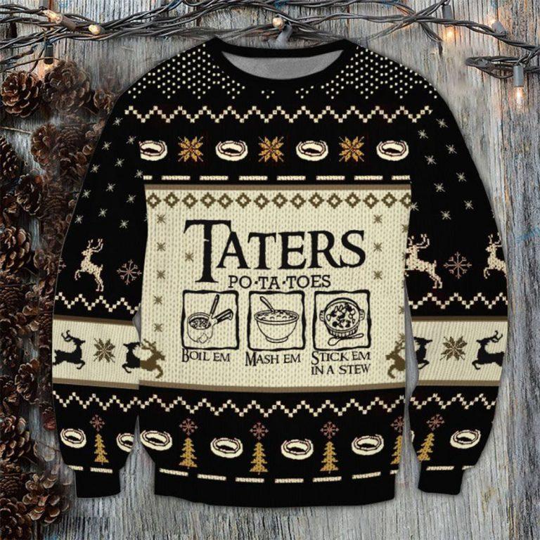 LOTR Taters Potatoes 3D Printed Ugly Sweatshirt
