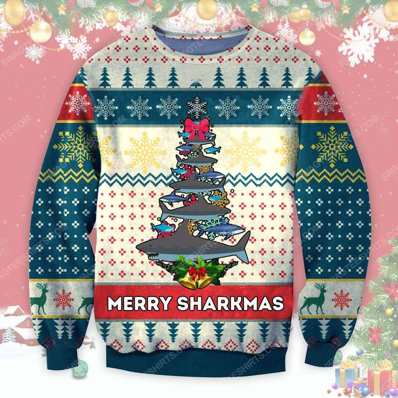 Merry sharkmas shark christmas tree ugly christmas sweater