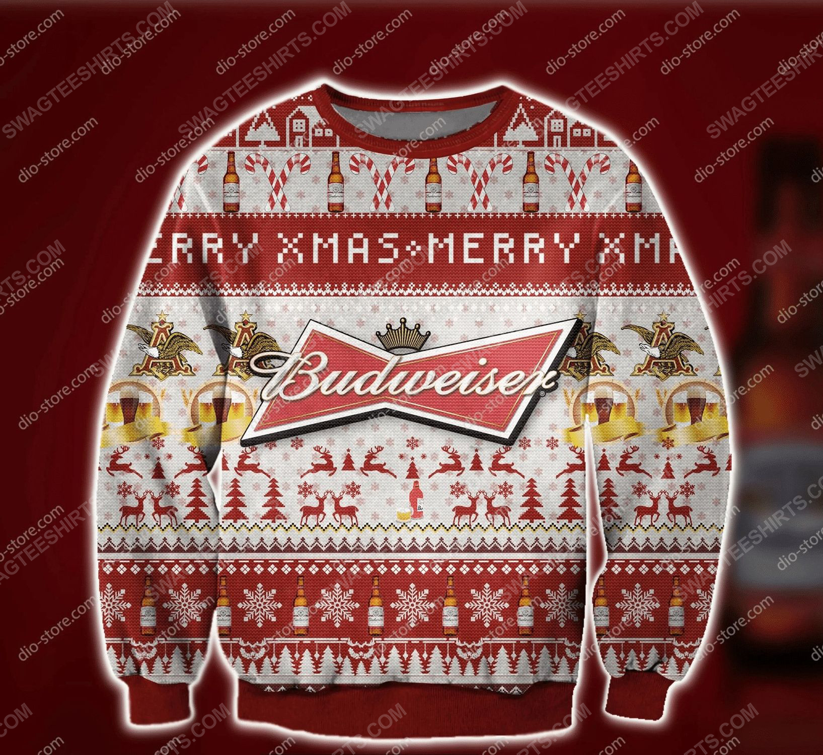 Merry xmas budweiser beer ugly christmas sweater