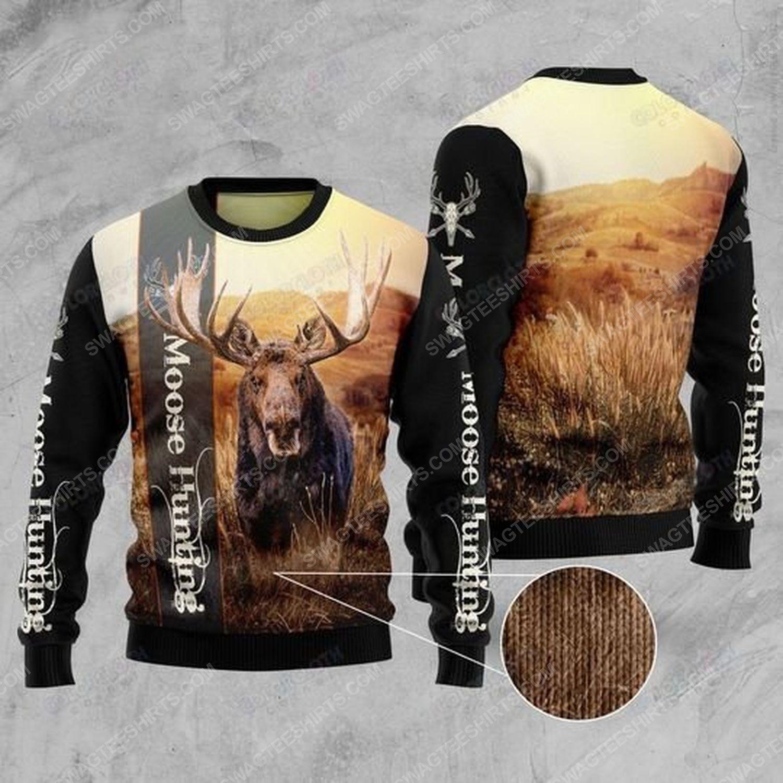 Moose hunting ugly christmas sweater