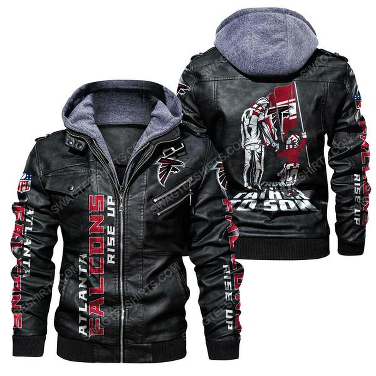 National football league atlanta falcons from father to son leather jacket - black
