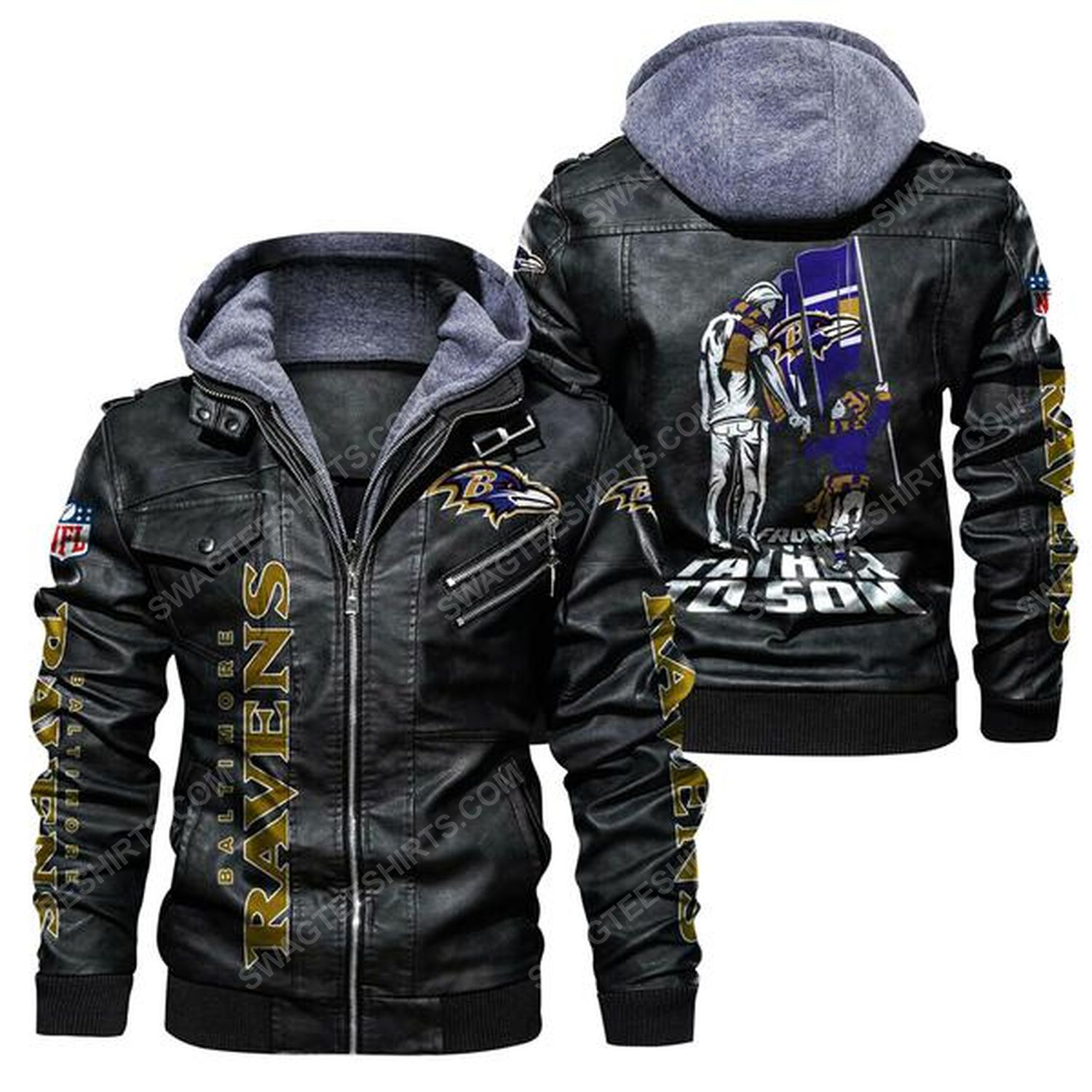 National football league baltimore ravens from father to son leather jacket - black