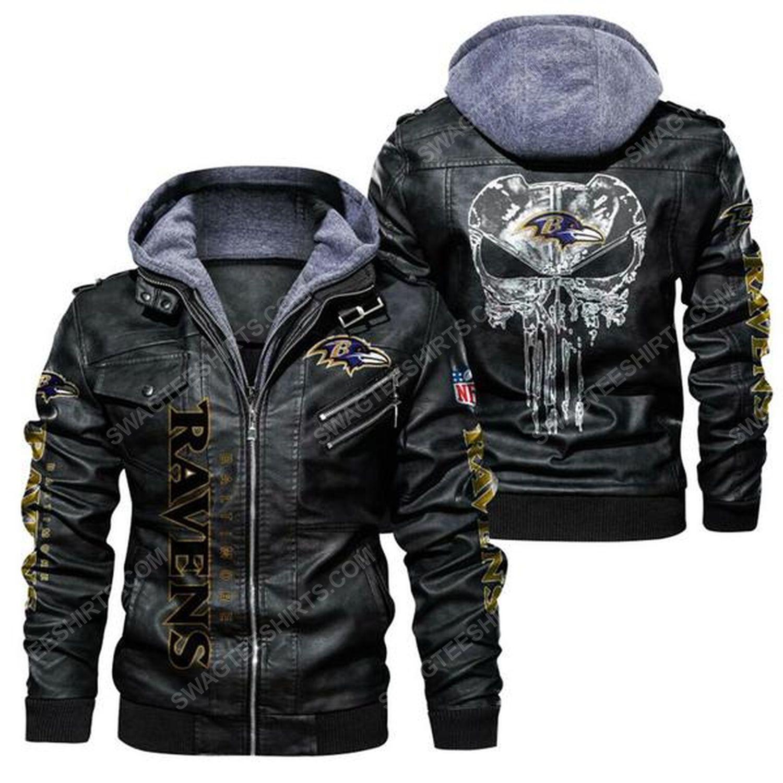 National football league baltimore ravens leather jacket - black