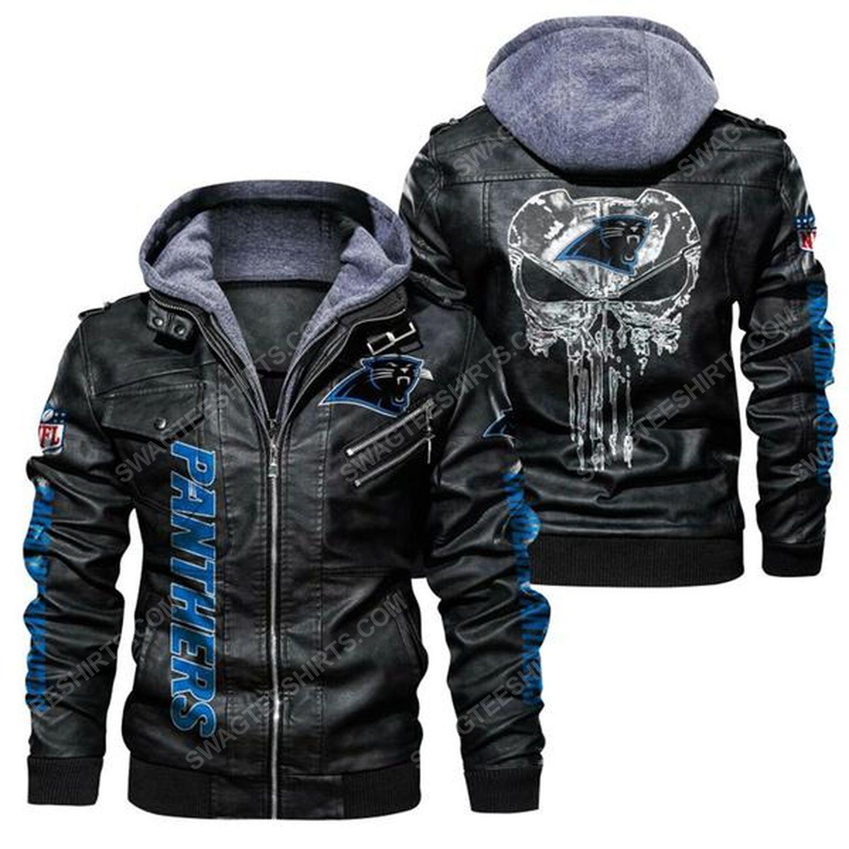 National football league carolina panthers skull leather jacket - black