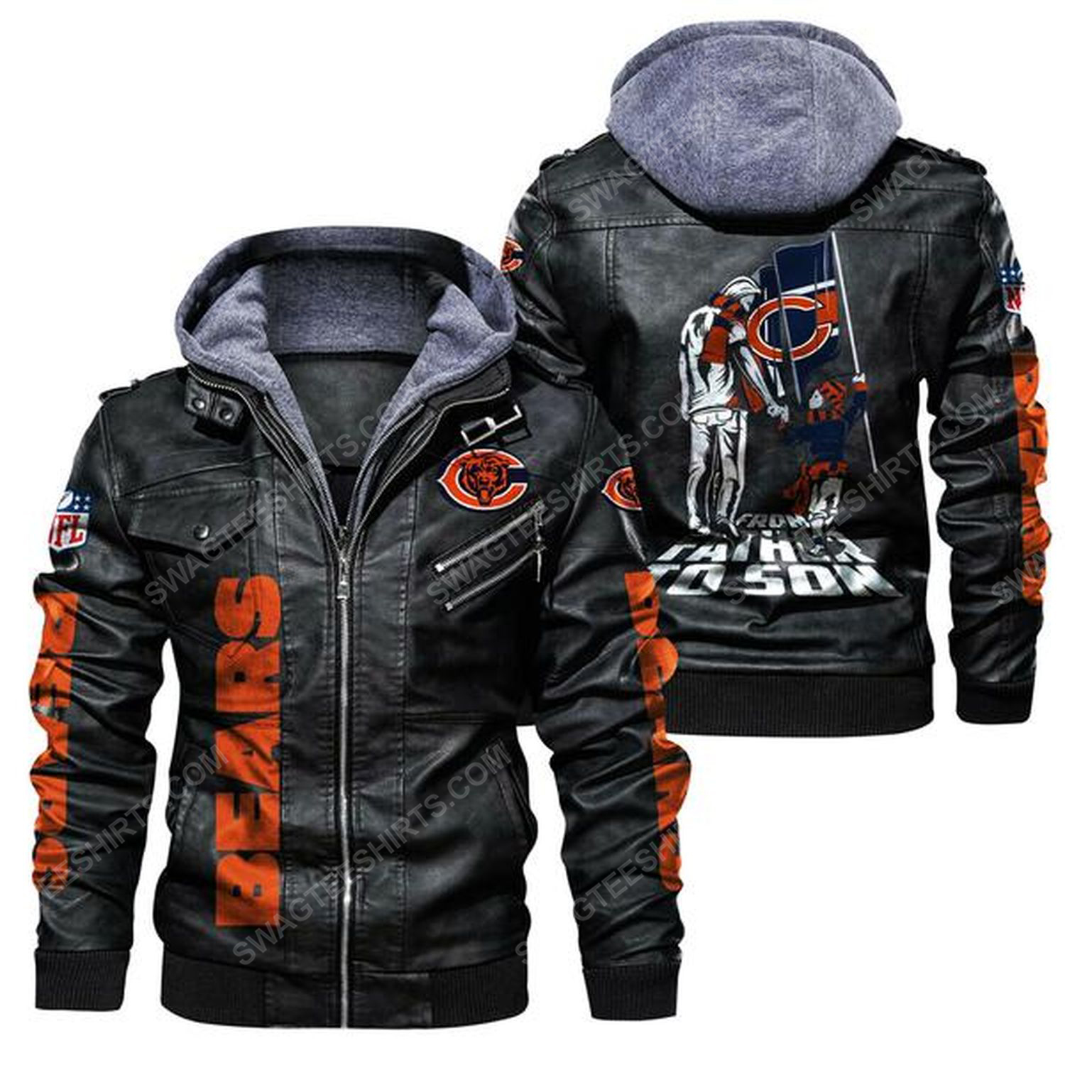 National football league chicago bears from father to son leather jacket - black