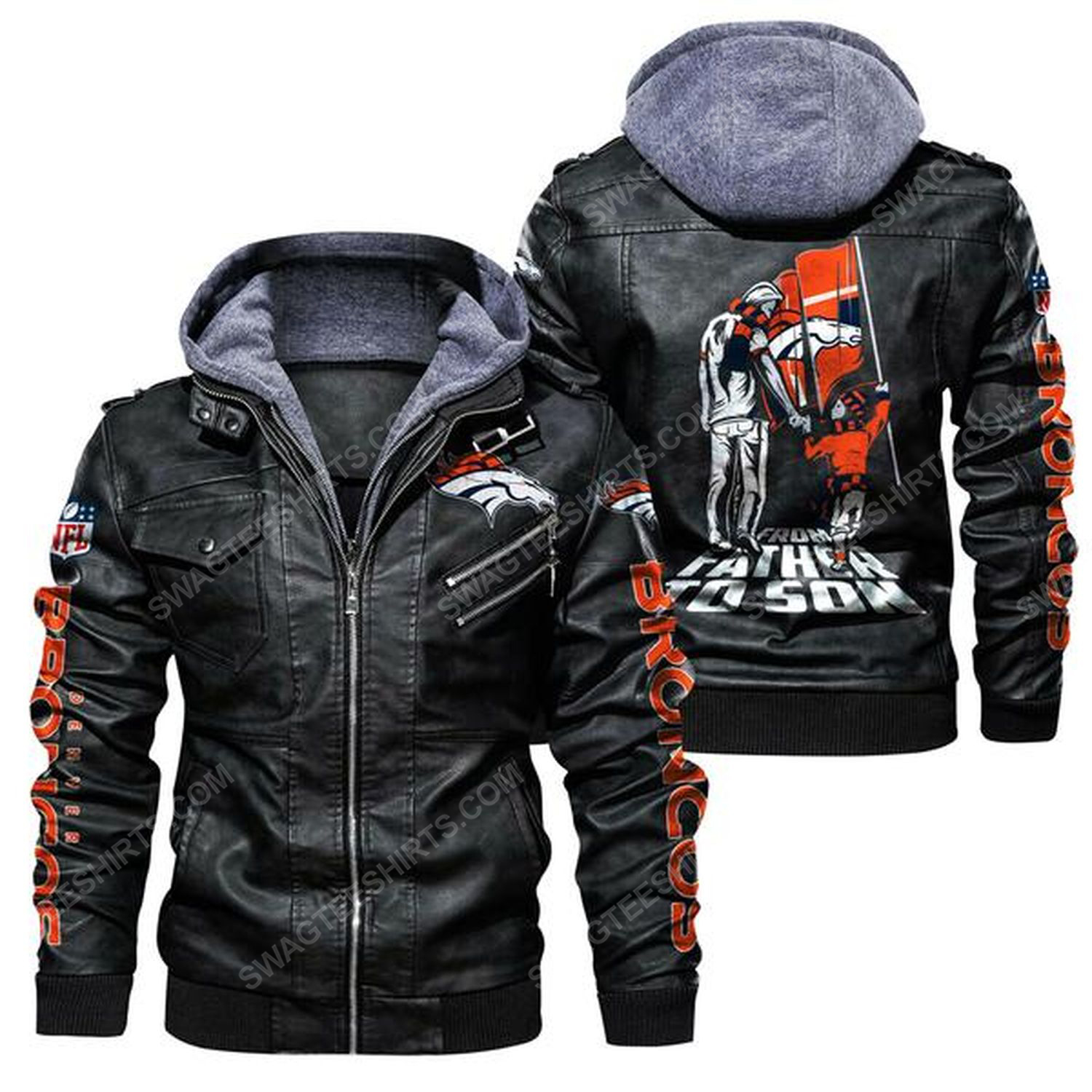 National football league denver broncos from father to son leather jacket - back