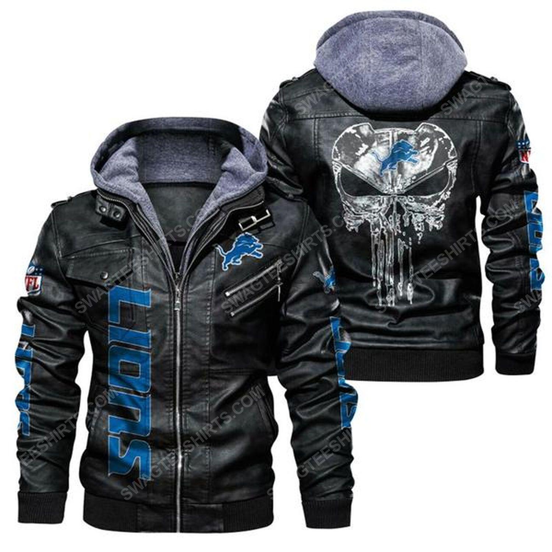 National football league detroit lions leather jacket - black