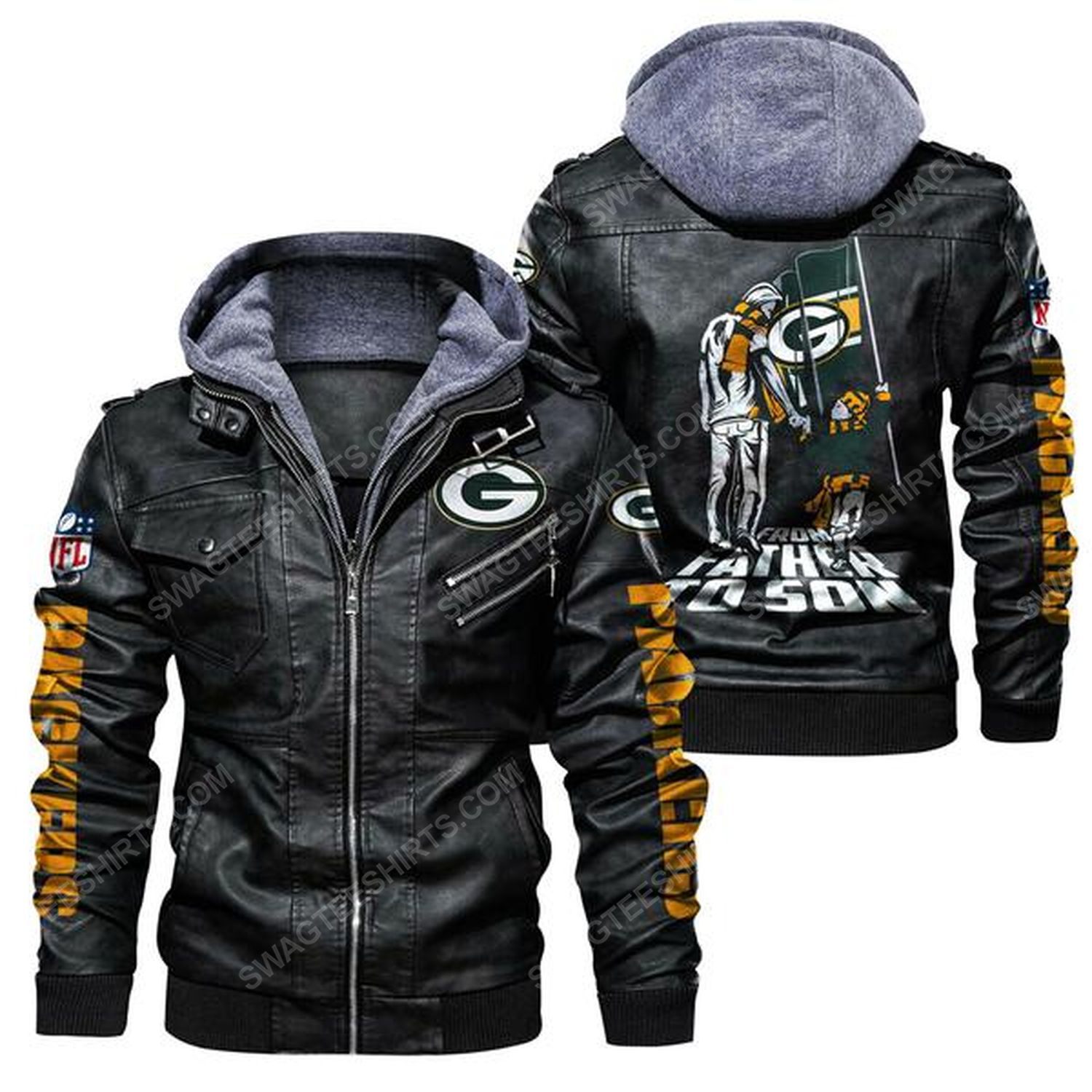 National football league green bay packers from father to son leather jacket - black