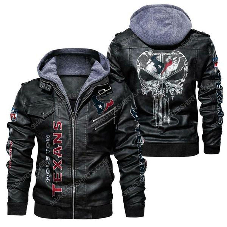 National football league houston texans leather jacket - black