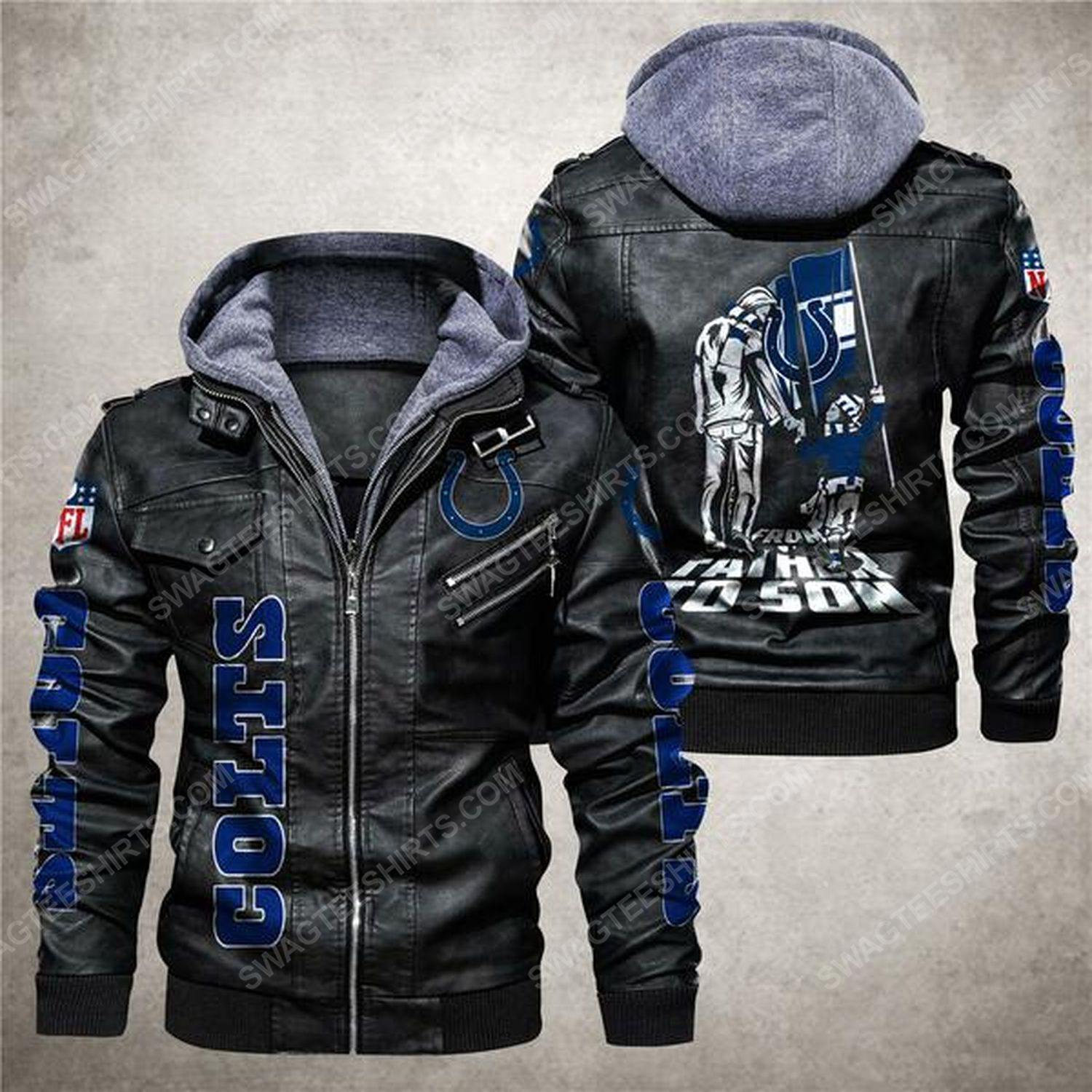 National football league indianapolis colts from father to son leather jacket - black