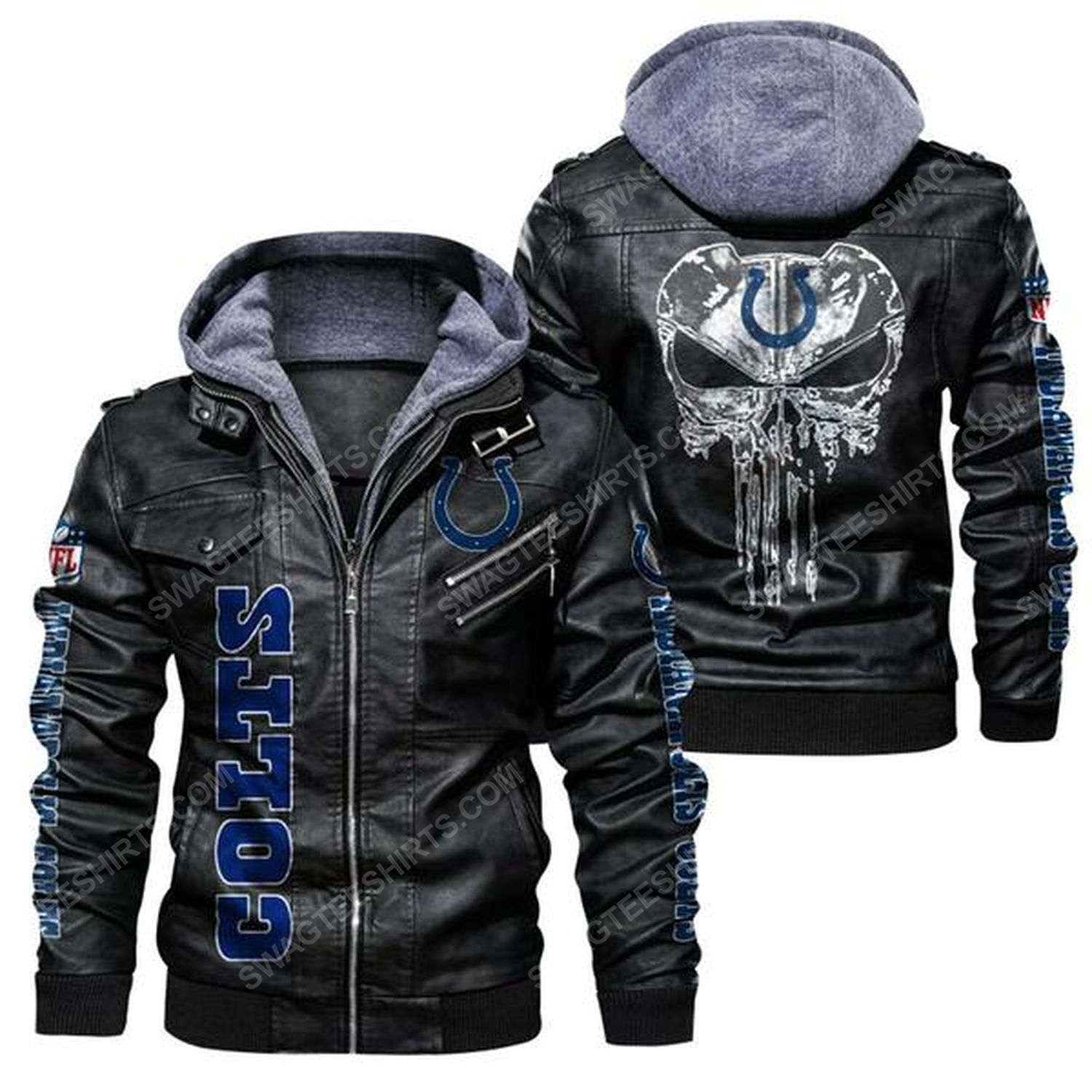 National football league indianapolis colts leather jacket - black