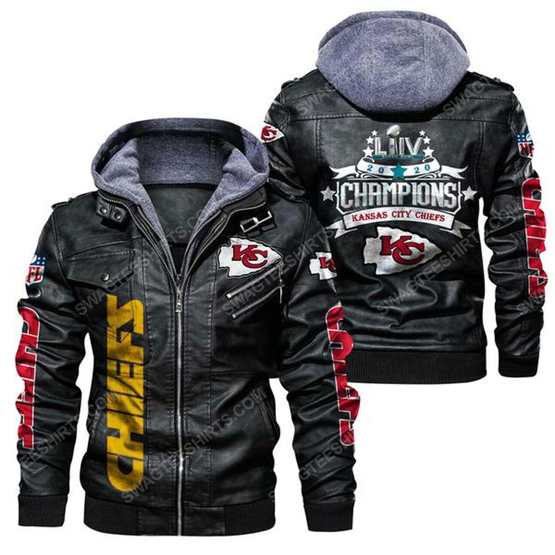 National football league kansas city chiefs super bowl leather jacket - black