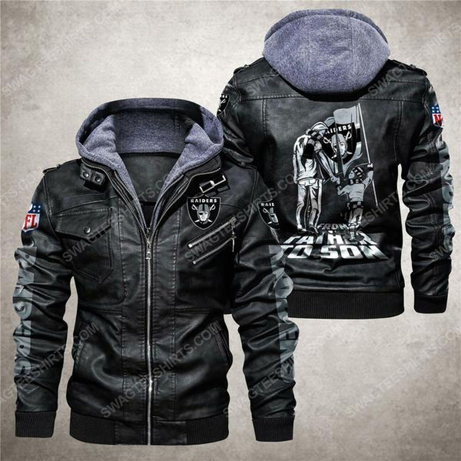 National football league las vegas raiders from father to son leather jacket - black
