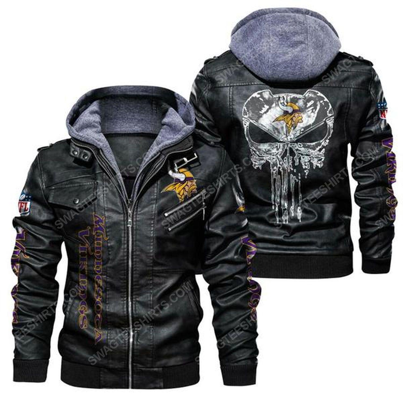 National football league minnesota vikings leather jacket - black