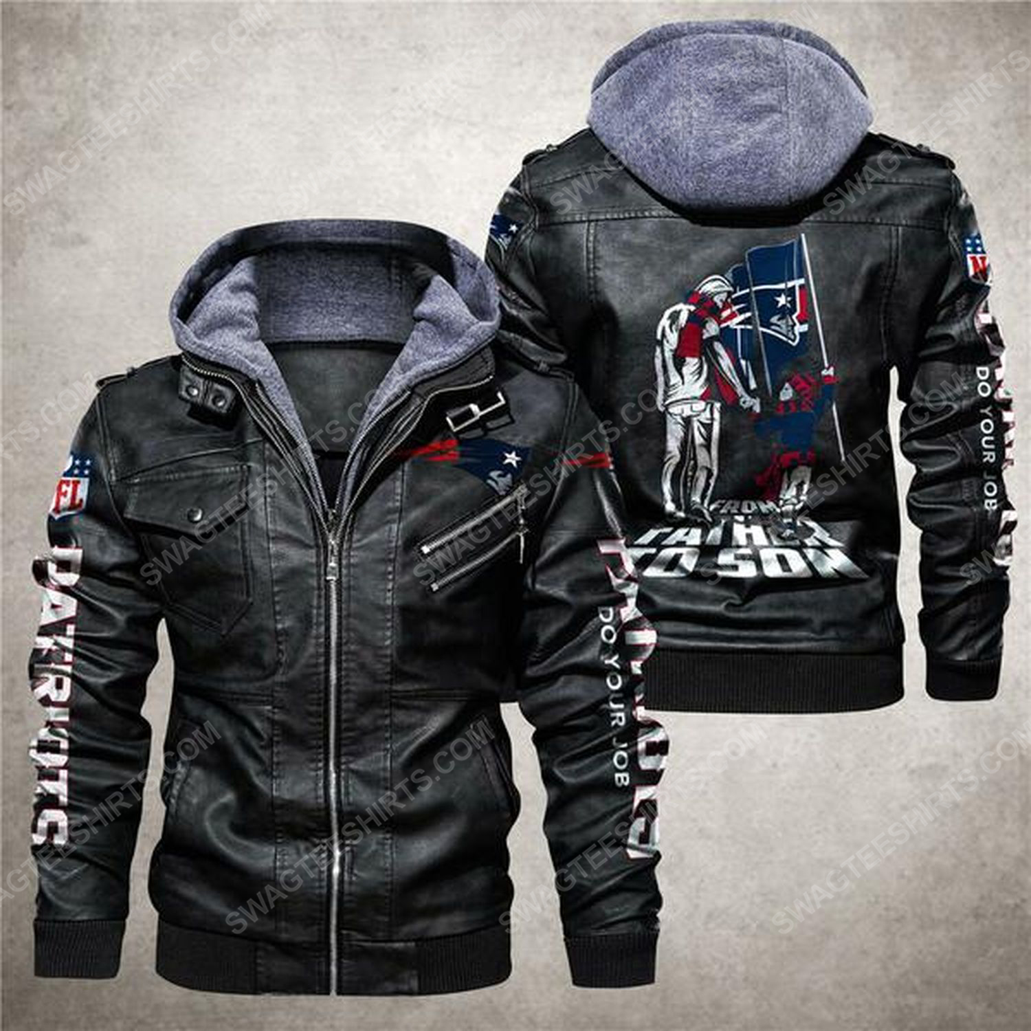 National football league new england patriots from father to son leather jacket - black