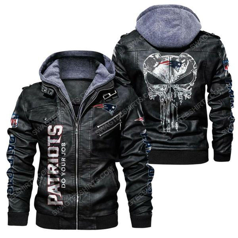 National football league new england patriots leather jacket - black