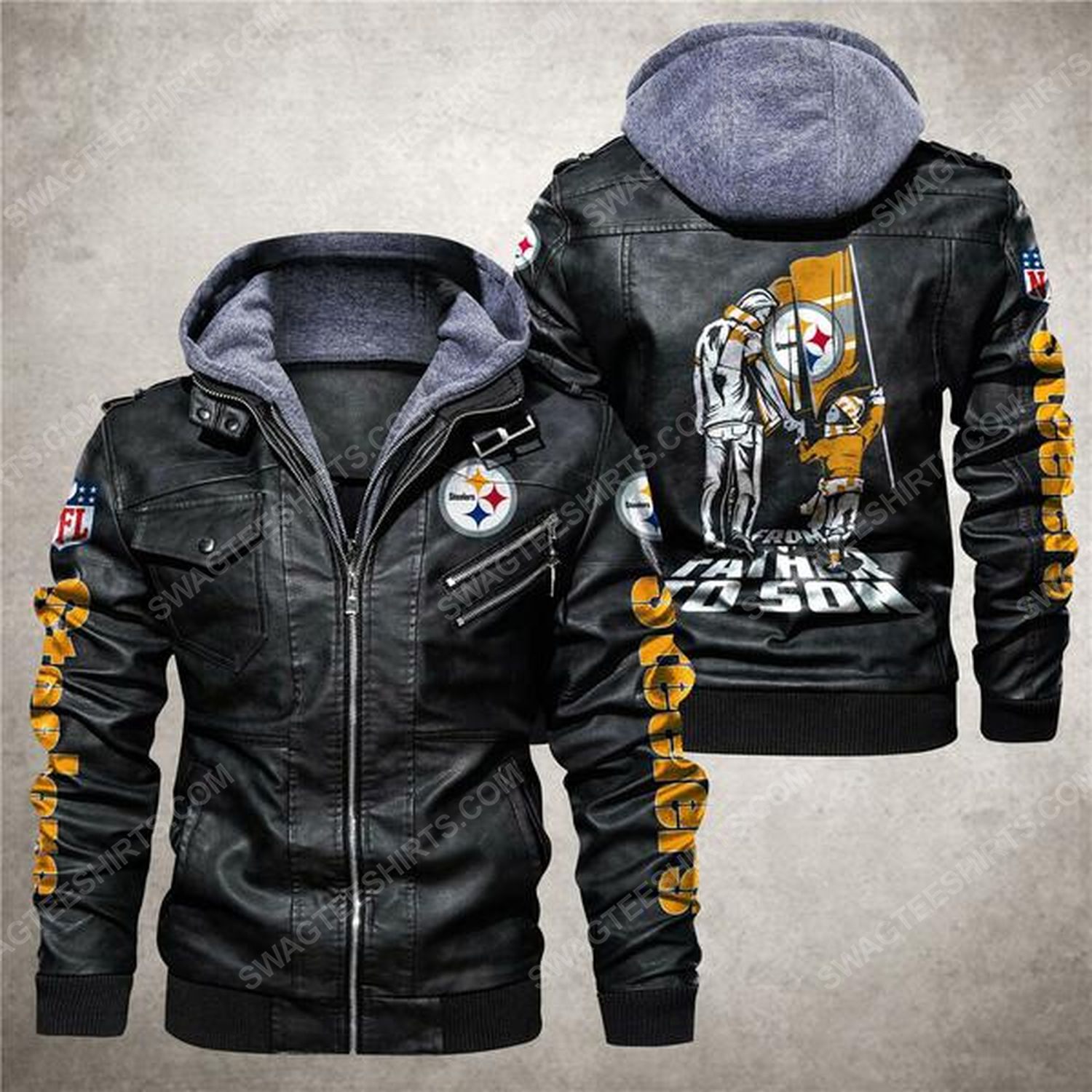 National football league pittsburgh steelers from father to son leather jacket - black