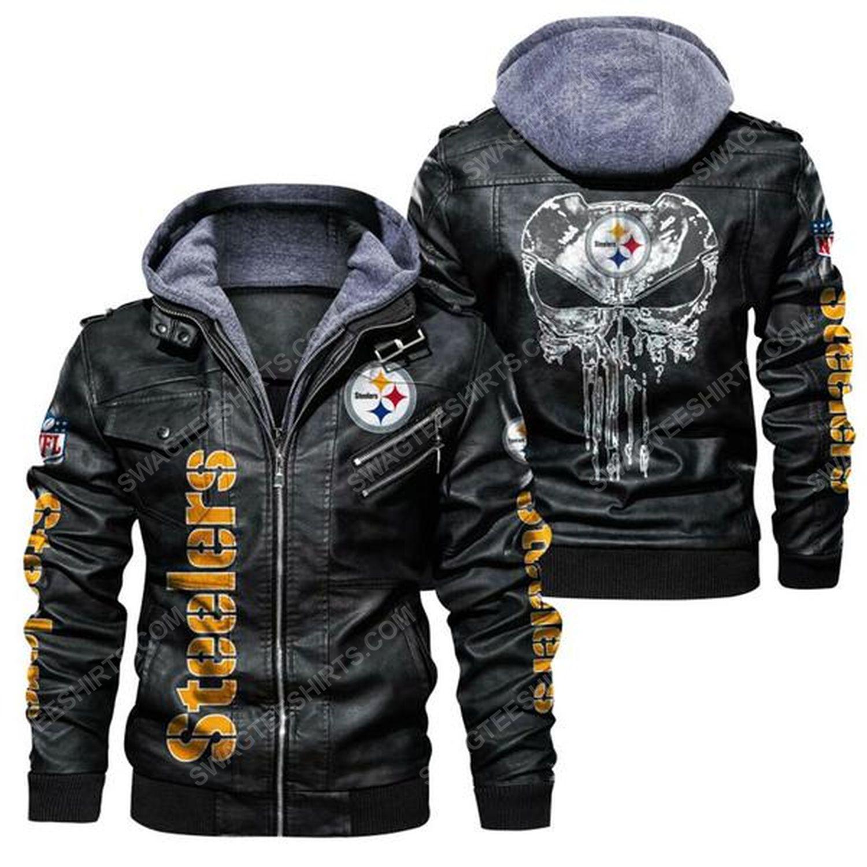 National football league pittsburgh steelers leather jacket - black
