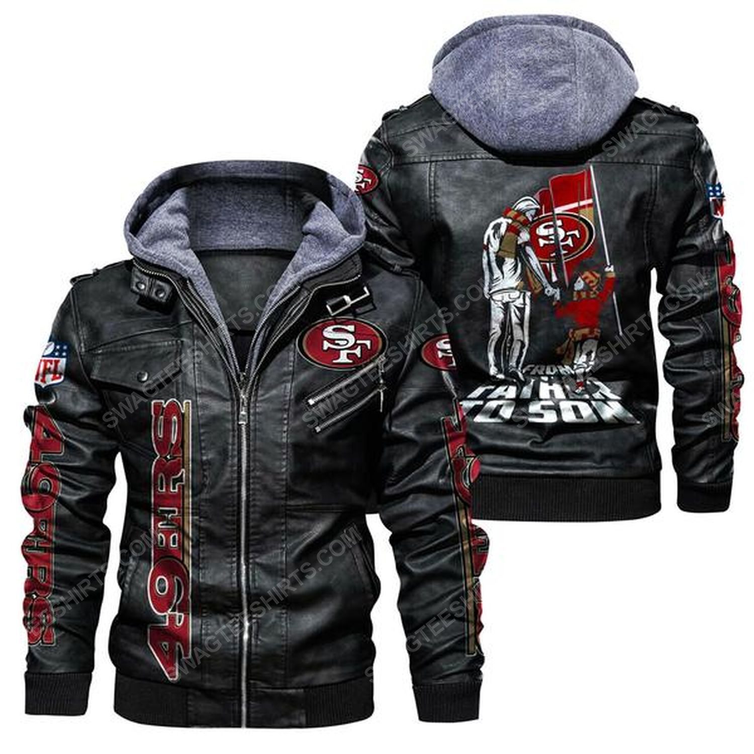National football league san francisco 49ers from father to son leather jacket - black