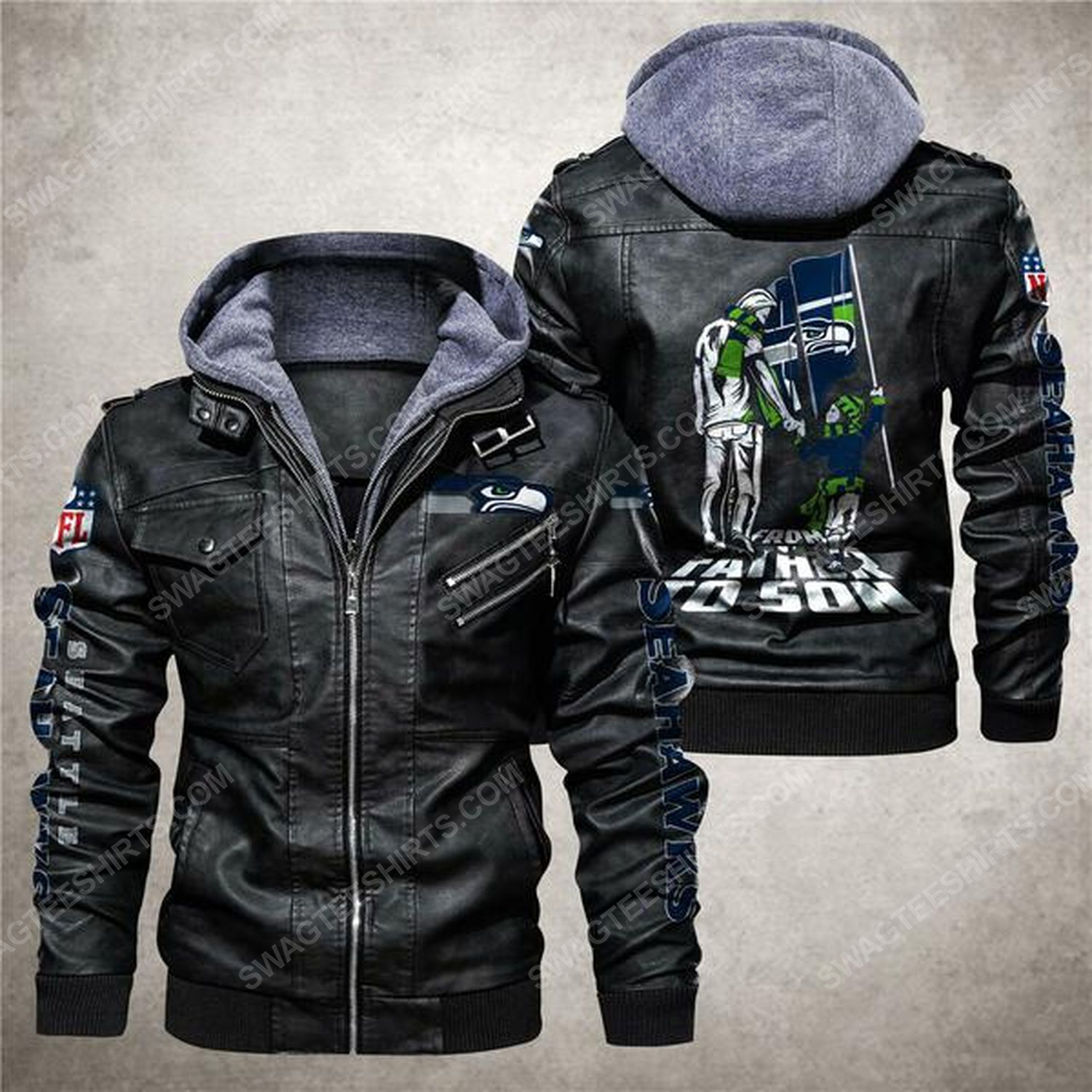 National football league seattle seahawks from father to son leather jacket - black