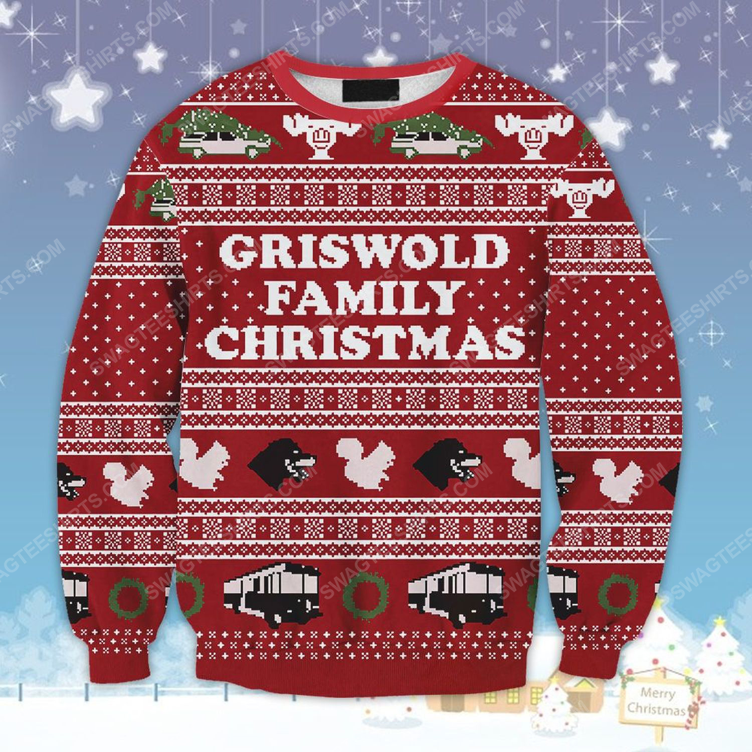 National lampoon's vacation griswold family ugly christmas sweater
