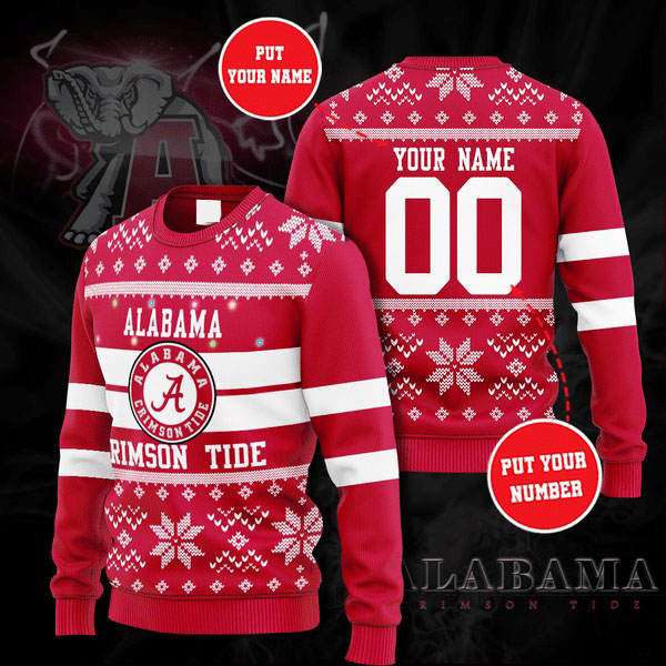Personalized Name and Number Alabama Crimson Tide christmas sweater