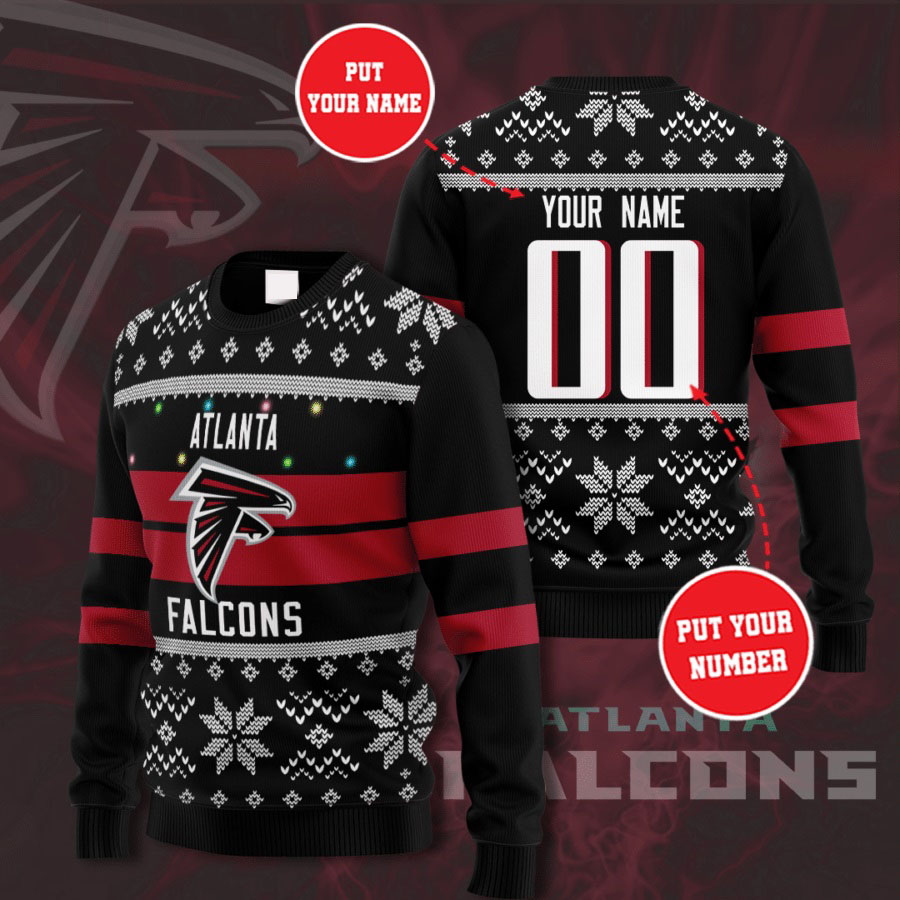 Personalized Name and Number Atlanta Falcons christmas sweater