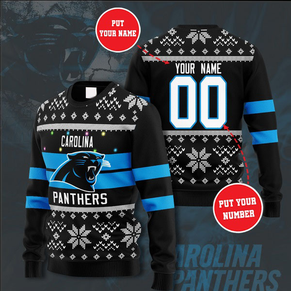 Personalized Name and Number Carolina Panthers christmas sweater