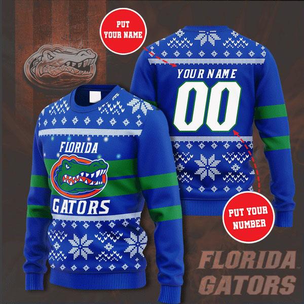Personalized Name and Number Florida Gators christmas sweater