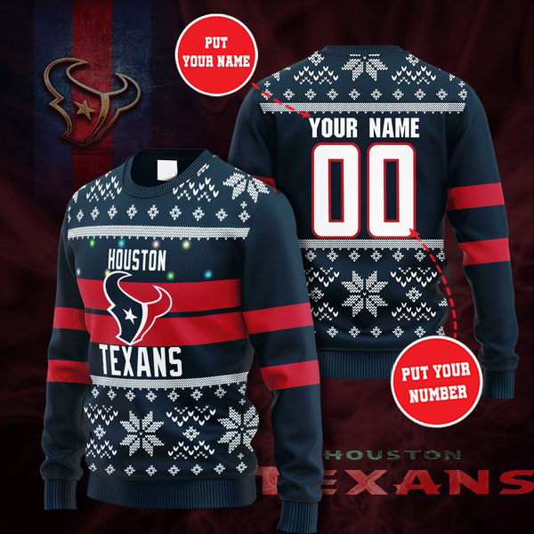 Personalized Name and Number Houston Texans christmas sweater