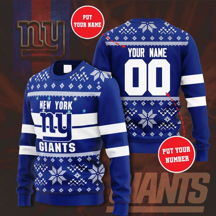 Personalized Name and Number New York Giants christmas sweater