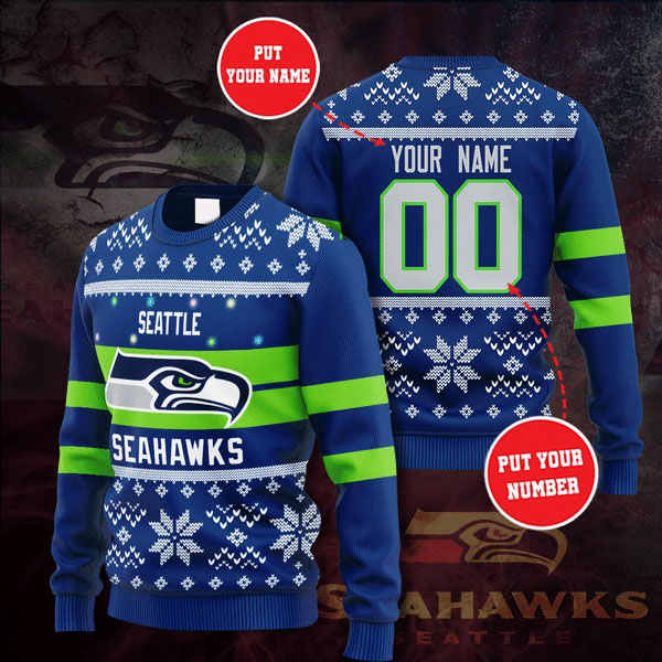 Personalized Name and Number Seattle Seahawks christmas sweater