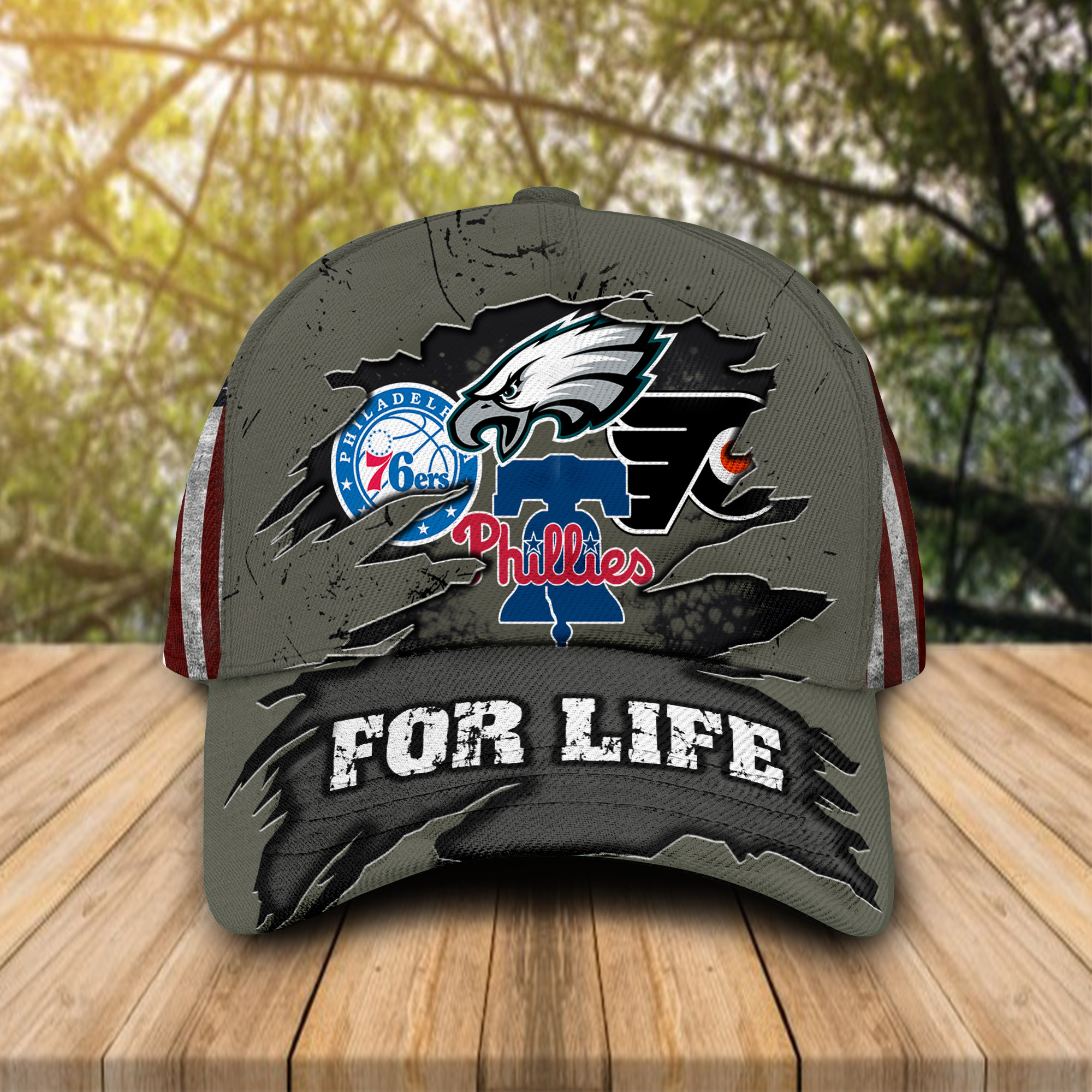 Philadelphia Eagles Flyers 76ers Phillies For Life Cap Hat