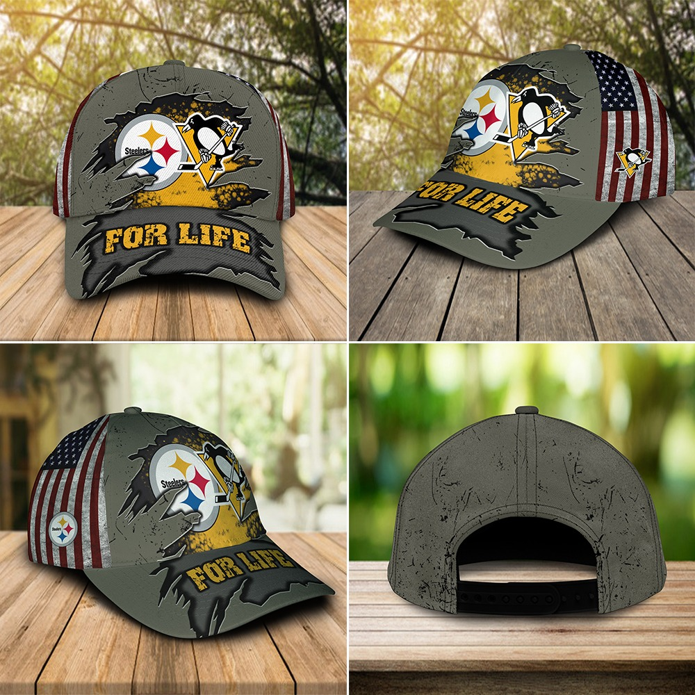 Pittsburgh Steelers and Sport teams For Life custom cap hat-2