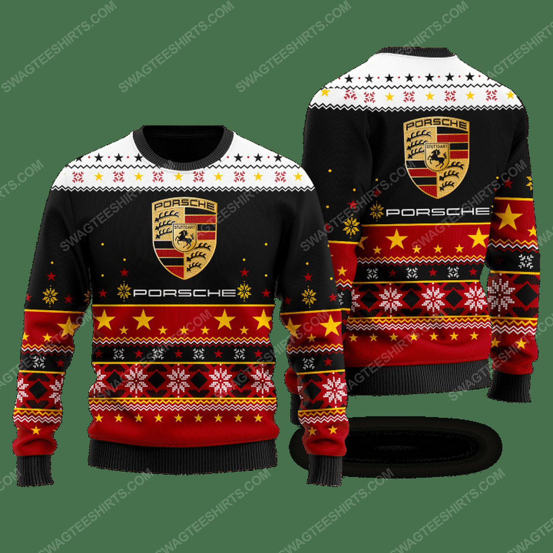 Porsche racing car ugly christmas sweater