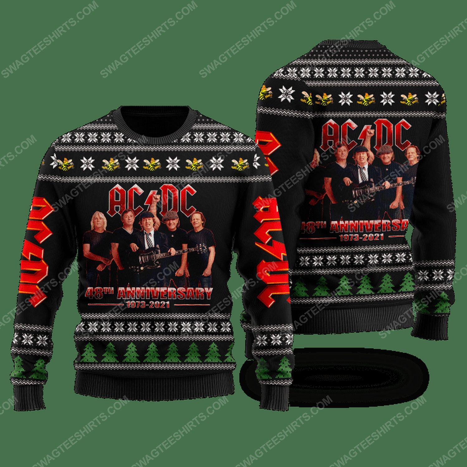 Rock band ac dc 48th anniversary ugly christmas sweater