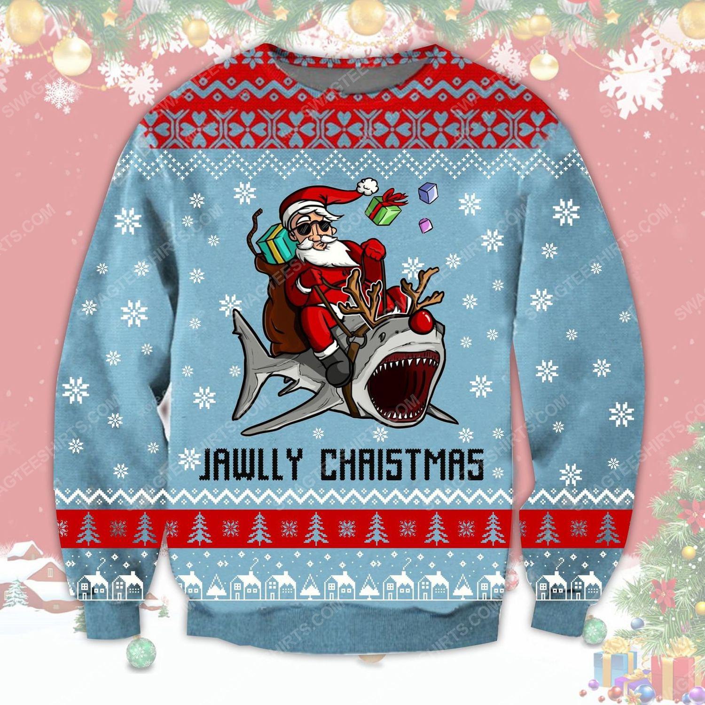Santa riding shark jawlly christmas ugly christmas sweater
