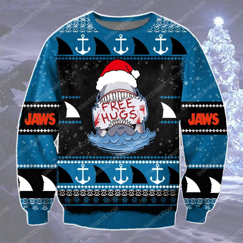 Shark with santa hat free hugs ugly christmas sweater