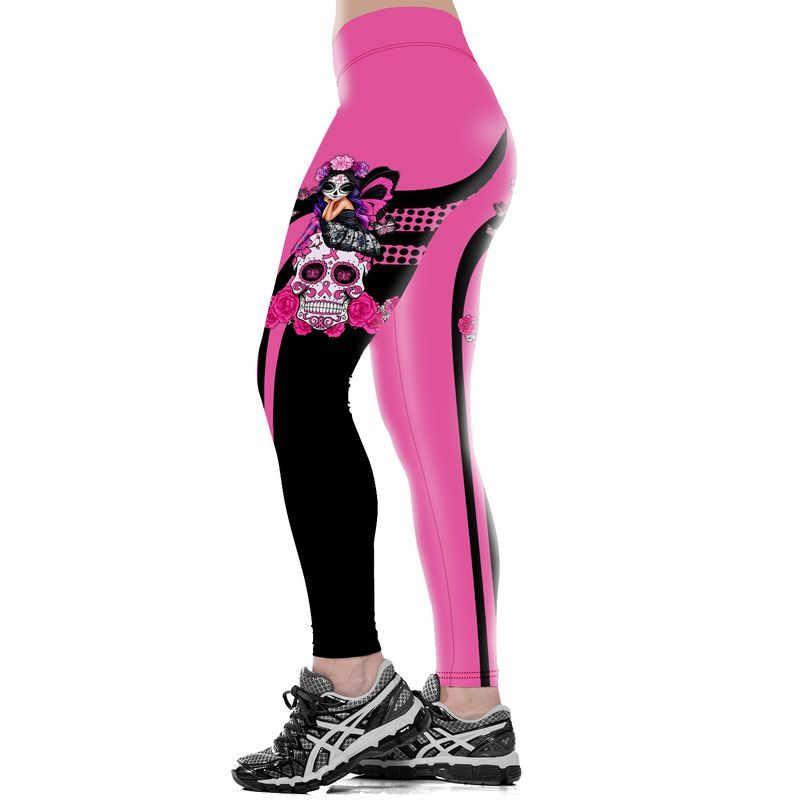 Skull fairy girl breast cancer awareness leggings