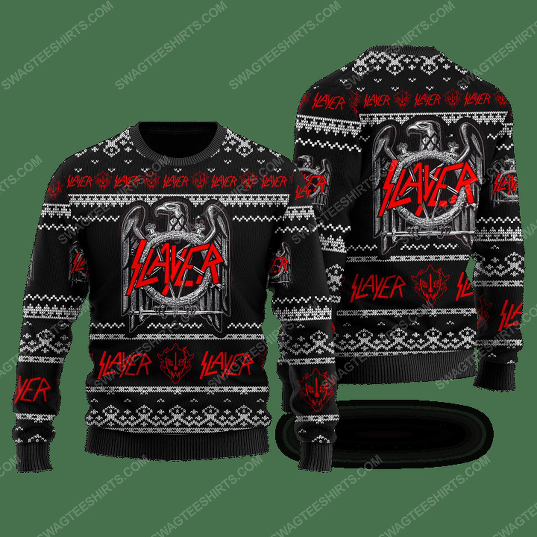 Slayer rock band ugly christmas sweater
