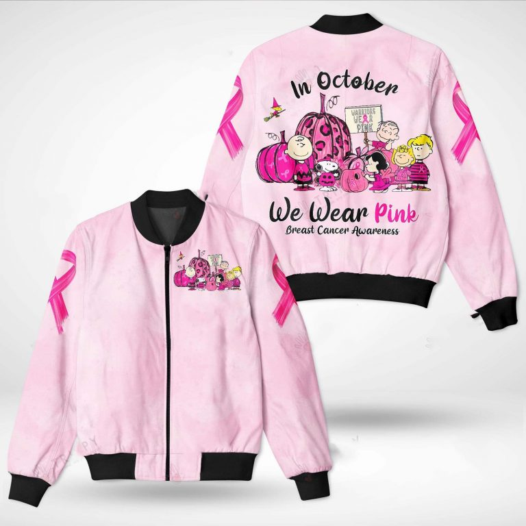 Snoopy and Friends In October we wear pink Breast cancer awareness 3d bomber