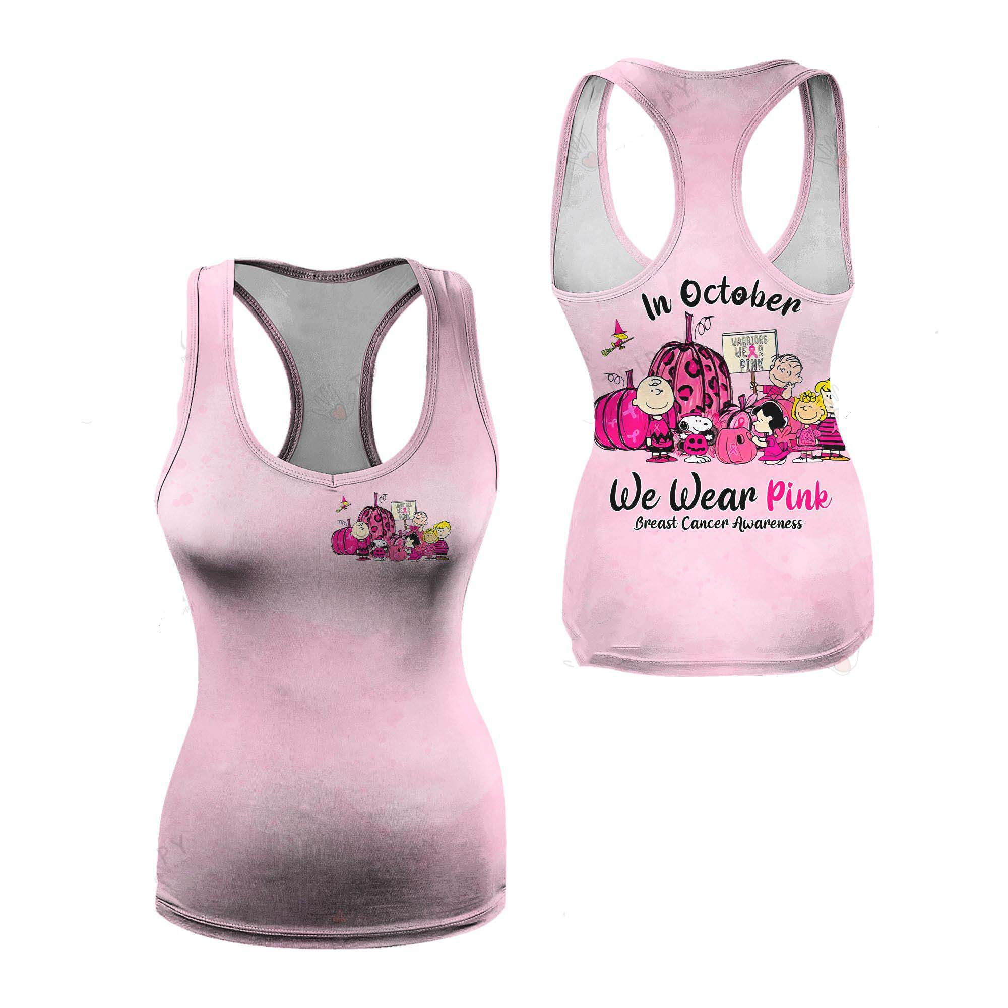 Snoopy and Friends In October we wear pink Breast cancer awareness 3d tank top