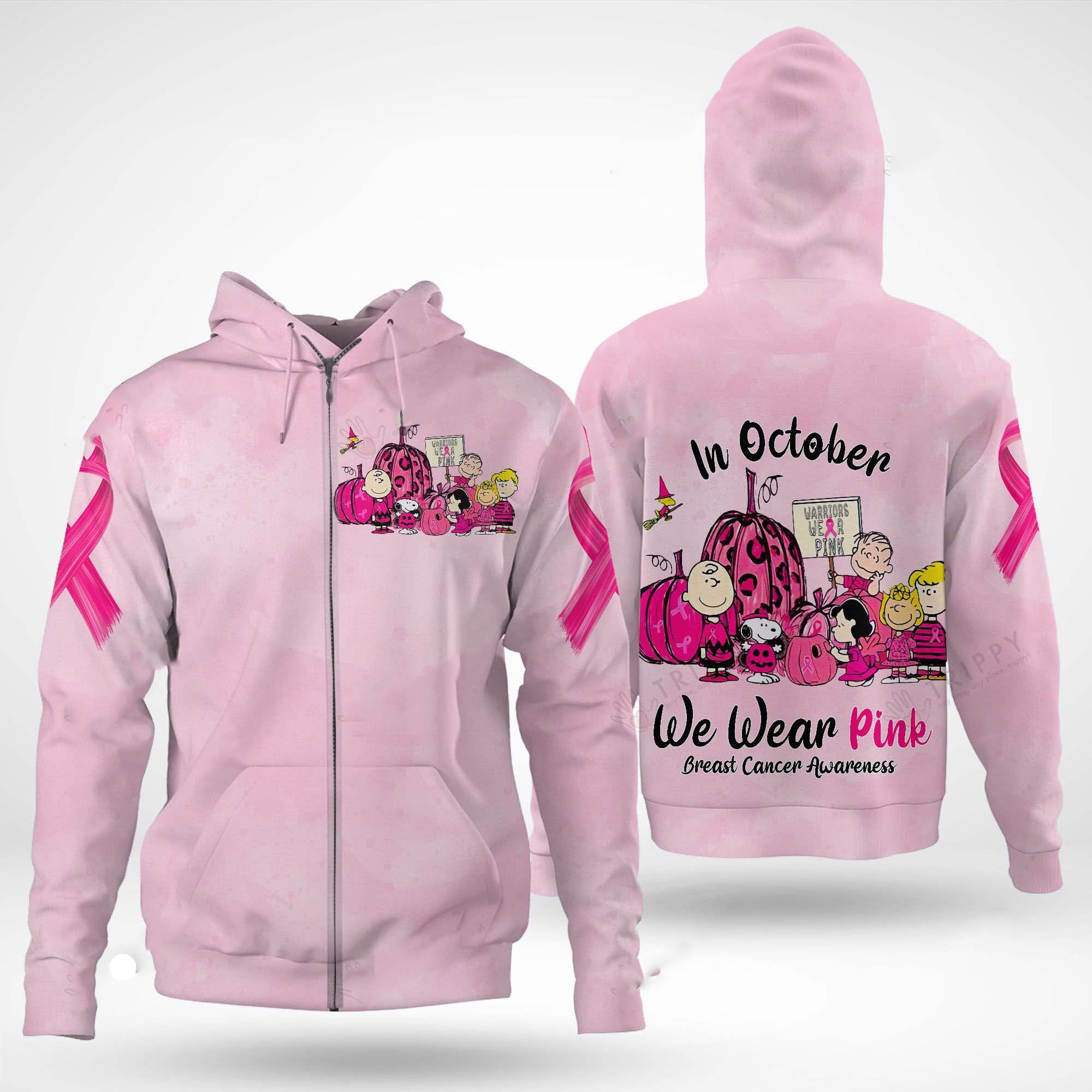 Snoopy and Friends In October we wear pink Breast cancer awareness 3d zip hoodie