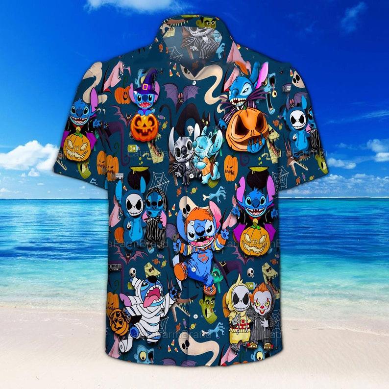 Stich And Horror Movie Character Halloween Hawaiian Shirt