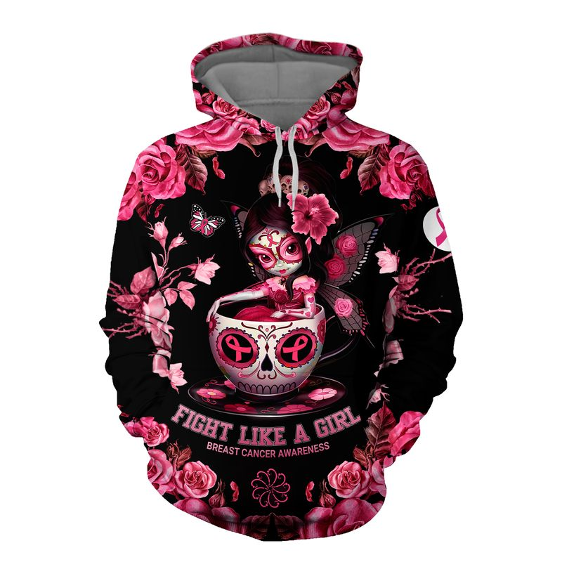 Tea cup sugar skull fairy Fight like a girl Breast cancer awareness 3d hoodie