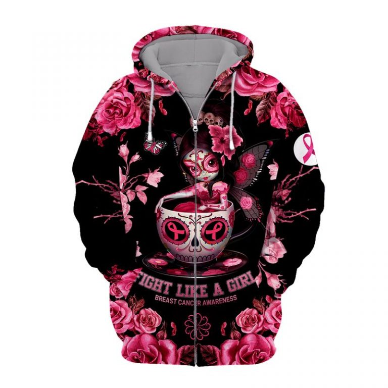 Tea cup sugar skull fairy Fight like a girl Breast cancer awareness 3d zip hoodie