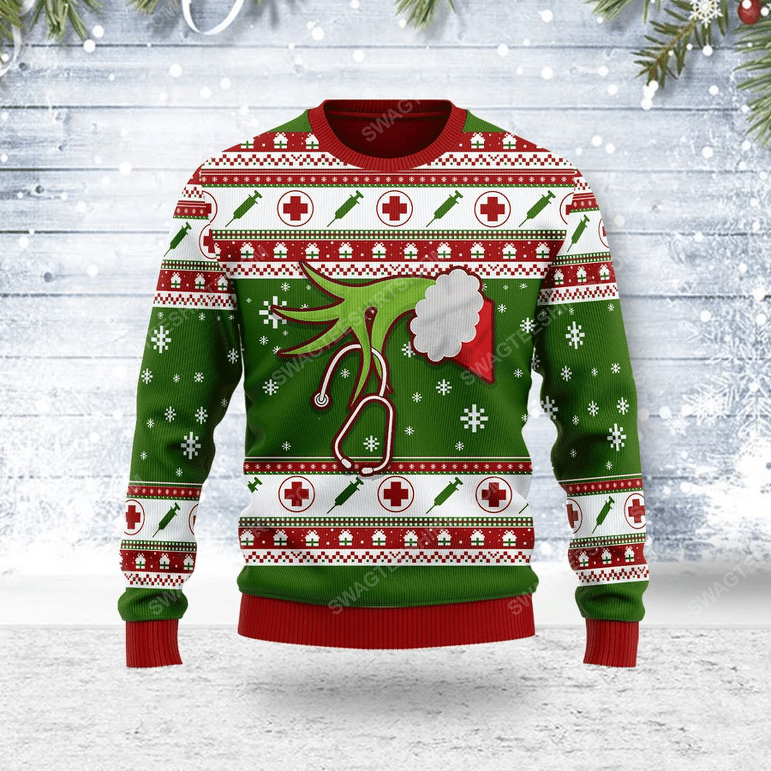 The grinch nurse ugly christmas sweater