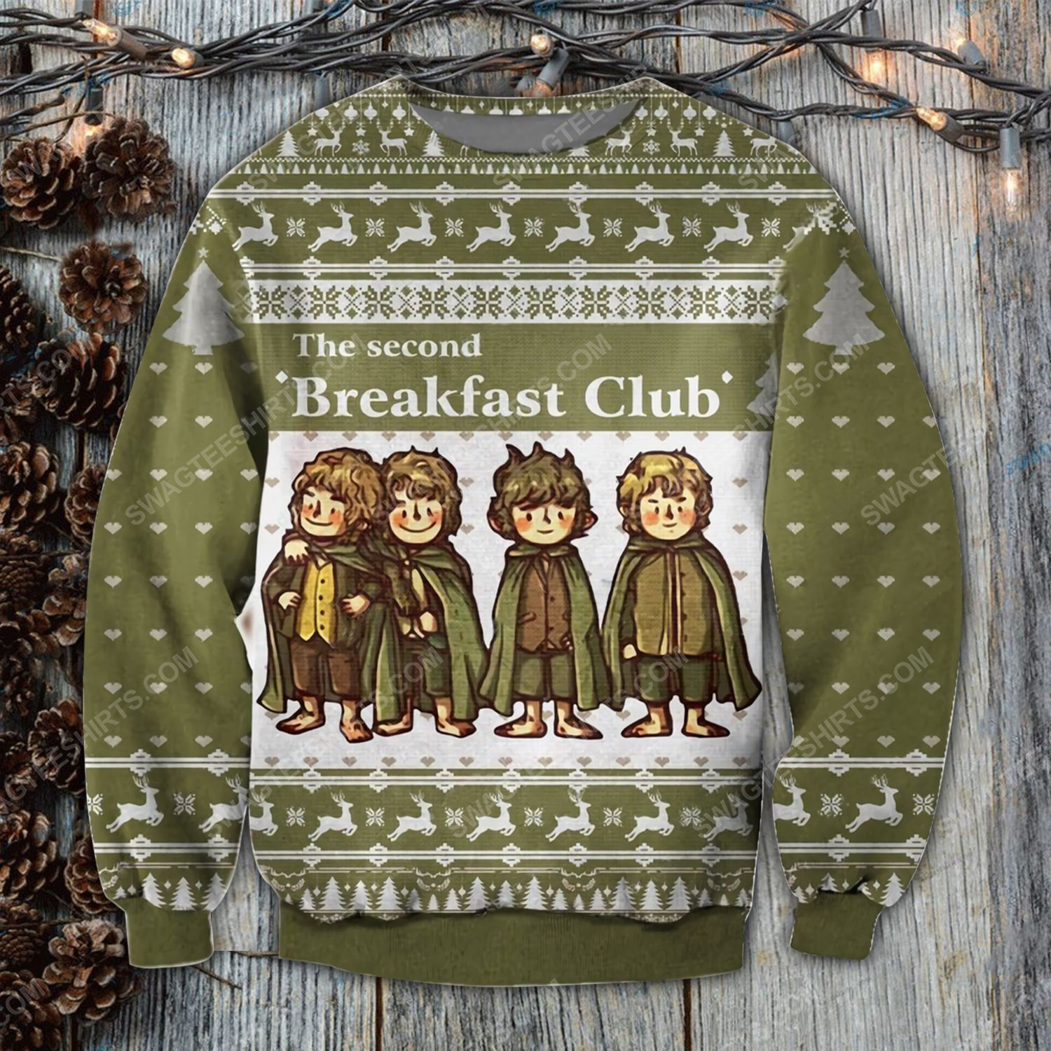 The lord of the rings the second breakfast club ugly christmas sweater