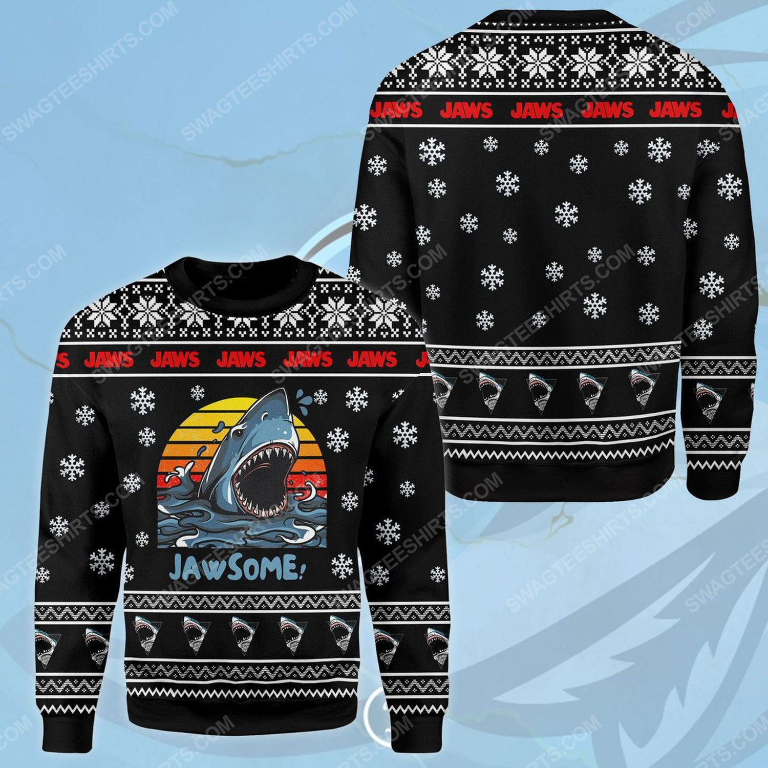 Vintage jaws ugly christmas sweater
