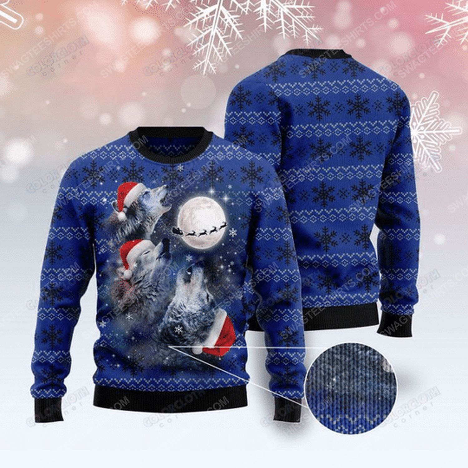 Wolf under the moon ugly christmas sweater